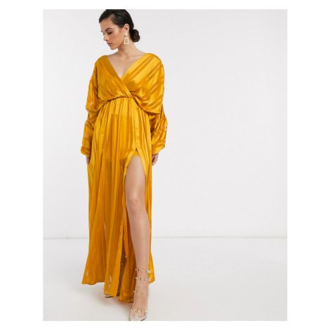 ASOS DESIGN chain insert maxi dress in Yellow satin stripe-Multi