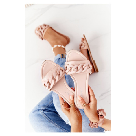 Leather Slippers With A Chain Beige Step By Step Kesi