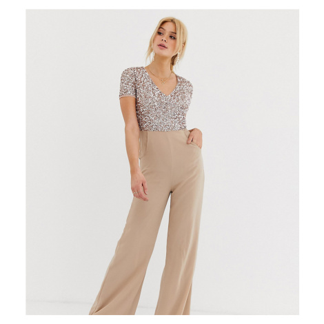 Maya Tall v neck delicate sequin jumpsuit in taupe blush-Pink