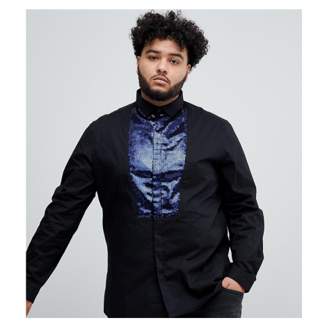 ASOS DESIGN Plus slim sateen shirt in black with navy sequin bib