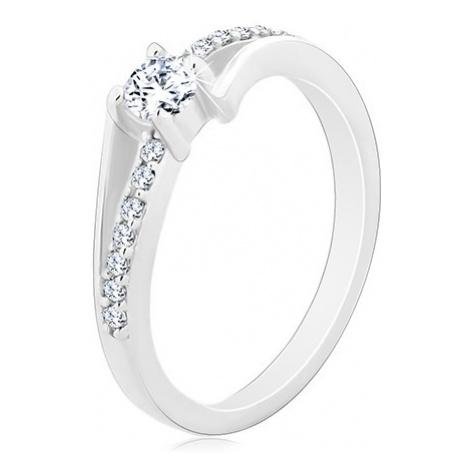 Stříbrný prsten 925, rozdělená zvlněná ramena, kulatý čirý zirkon Šperky eshop