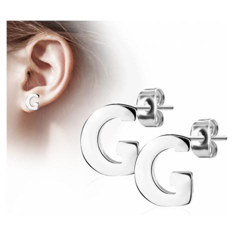 Náušnice z chirurgické oceli - velké tiskací písmenko G, stříbrná barva Šperky eshop