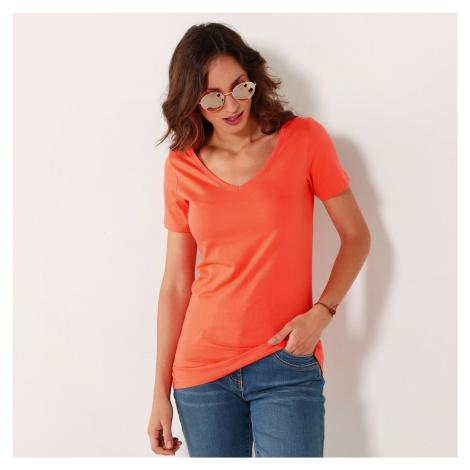"""Blancheporte Jednobarevné tričko s výstřihem do """"V"""" broskvová"""