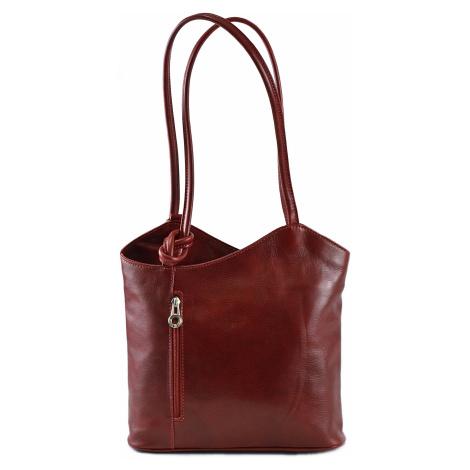 Kabelko-batoh dámský na záda i přes rameno A5 kožený bordó, 30 x 10 x 28 (IT00-6545-10TAM)