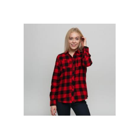 Urban Classics Ladies Turnup Checked Flanell Shirt černá / červená