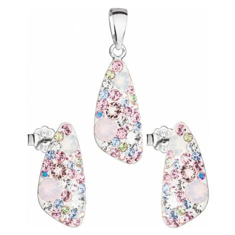 Sada šperků s krystaly Swarovski náušnice a přívěsek mix barev růžový 39167.3 magic rose Victum