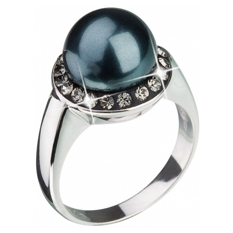 Stříbrný prsten s krystaly Swarovski a zelenou perlou 35021.3