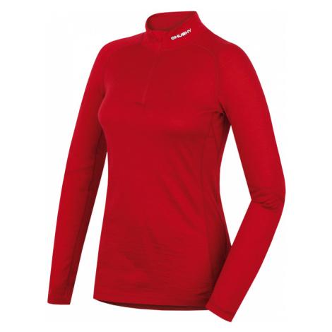 Dámské funkční triko HUSKY Merino 100 dlouhý rukáv zip L červená