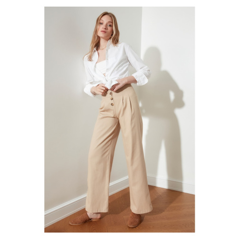 Trendyol Beige Front Button Pants