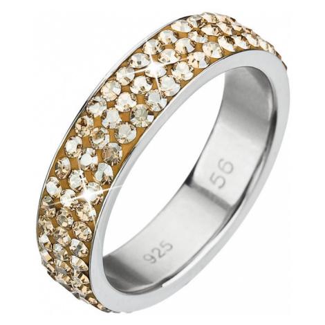 Evolution Group Stříbrný prsten s krystaly Swarovski zlatý 35001.5