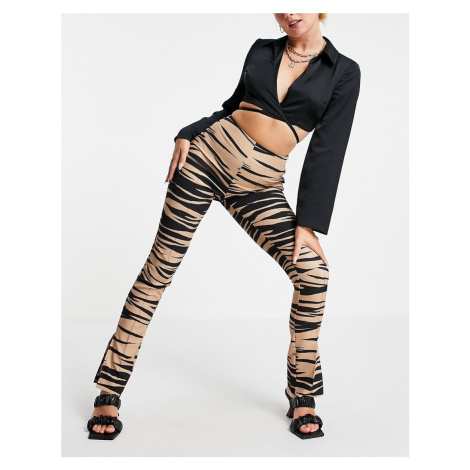 ASOS LUXE skinny trouser with split hem in animal print-Multi