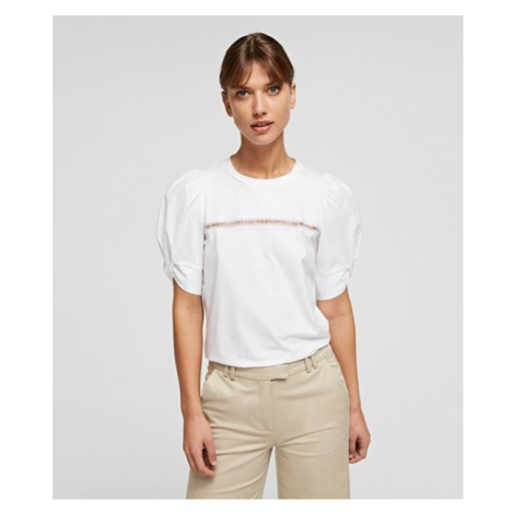 Tričko Karl Lagerfeld Puffy Sleeve Top W/Embroidery - Bílá