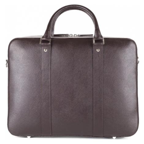 Kožená taška na notebook John & Paul - tmavě hnědá