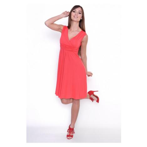 Delší vycházkové šaty bez rukávů barva korálová Oxyd