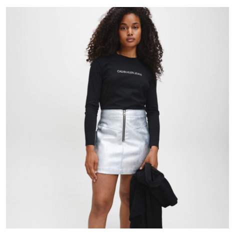 Calvin Klein Calvin Klein dámská koženková stříbrná sukně FAUX LEATHER MINI SKIRT