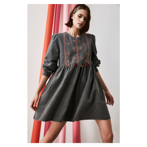 Trendyol Anthracite Embroidered Dress