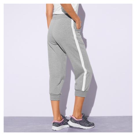 Blancheporte 3/4 sportovní kalhoty, dvoubarevné šedý melír/bílá