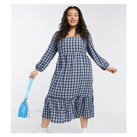 New Look Curve shirred midi smock dress in blue check-Purple