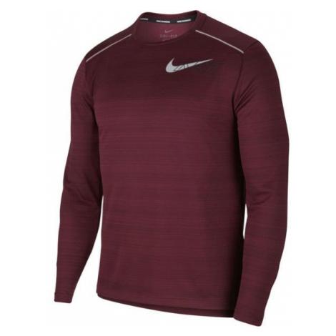 Nike DF MILER LS FLASH NV M vínová - Pánské tričko s dlouhým rukávem