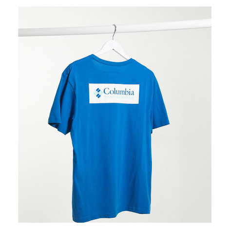 Columbia North Cascades back print t-shirt in dark pool Exclusive at ASOS-Blue