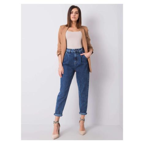 RUE PARIS Modré džíny s vysokým pasem FPrice