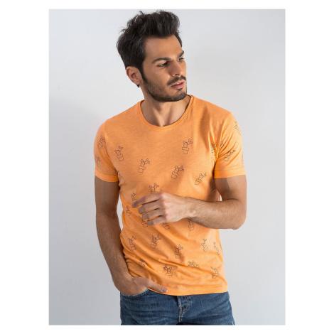 Pánské oranžové tričko s kaktusem FPrice