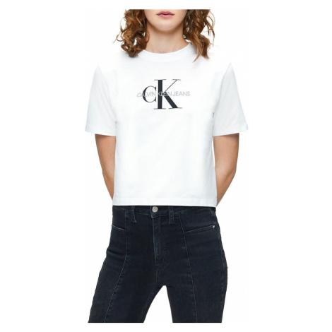 Calvin Klein Calvin Klein dámské bílé tričko MONOGRAM MODERN STRAIGHT CROP