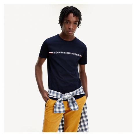Tommy Hilfiger pánské tmavě modré tričko Mini Stripe
