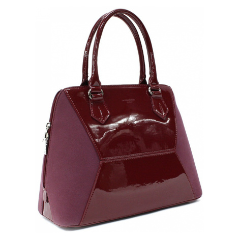 Vínově červená pololakovaná dámská kabelka do ruky Diandra David Jones