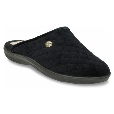 Černé prošívané dámské pantofle s ozdobou Baťa