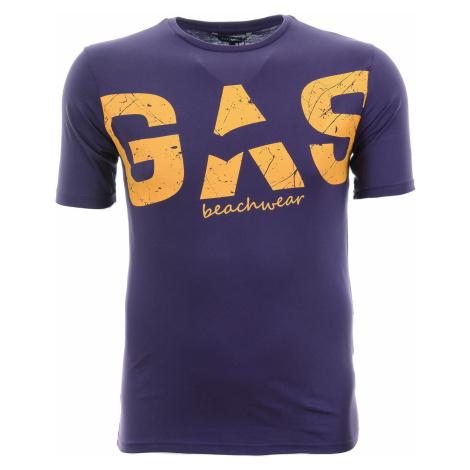 Pánské fialové tričko s potiskem Gas