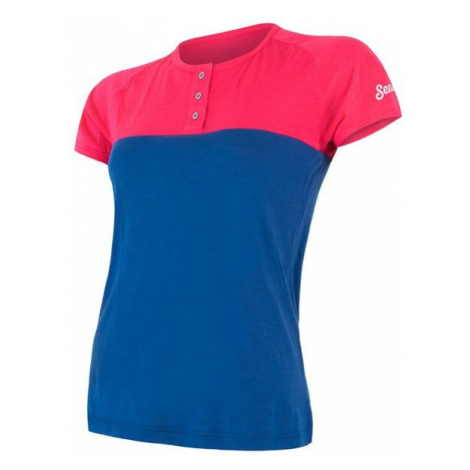 Sensor Merino Air PT dámské triko s knoflíky blue/black