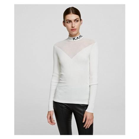 Svetr Karl Lagerfeld Pointelle Logo Sweater - Bílá