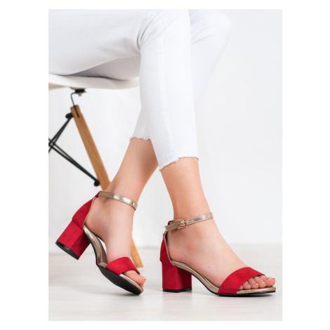 Luxusní červené dámské sandály na širokém podpatku GOODIN