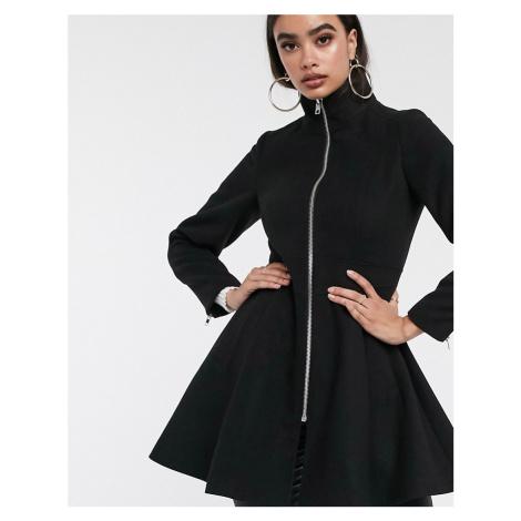 ASOS DESIGN swing coat with zip front detail in black
