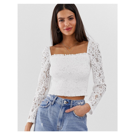 River Island shirred top with lace sleeves in white