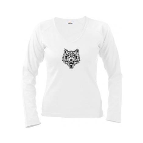 Dámské tričko dlouhý rukáv Vlk