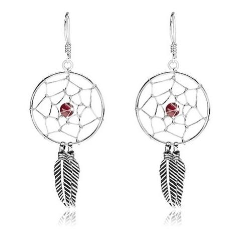 Stříbrné náušnice 925, tmavě červená kulička, kruhový lapač snů, 20 mm Šperky eshop