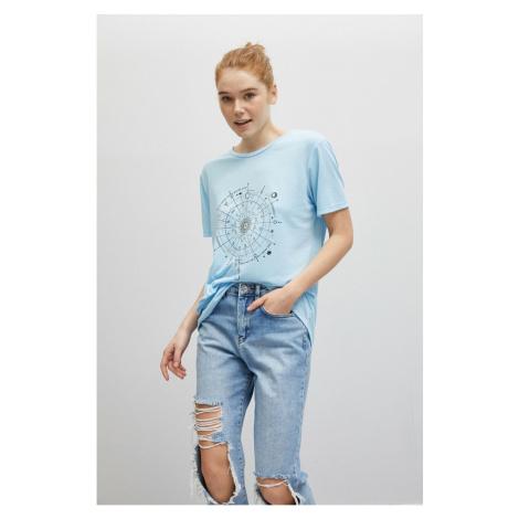Koton 1yak13355ek Women T-shirt Light Indigo