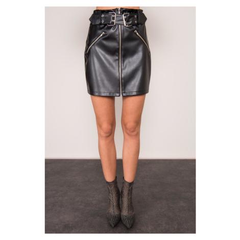 BSL Černá sukně z umělé kůže FPrice