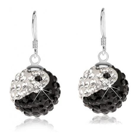 Stříbrné náušnice 925, kuličky, čiré a černé krystaly, jin jang, 14 mm Šperky eshop