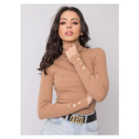 RUE PARIS Camel turtleneck blouse Fashionhunters