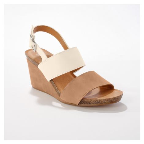 Blancheporte Kožené sandály na klínku, slonová kost/velbloudí slonová kost/velbloudí