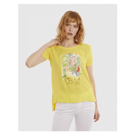 Tričko La Martina Woman Tshirt S/S Viscose Crepe - Žlutá