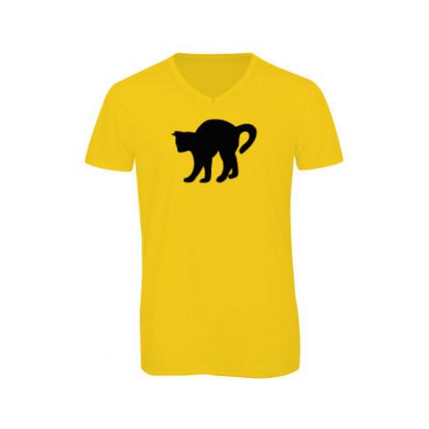 Pánské triko s výstřihem do V Kočka - Čiko