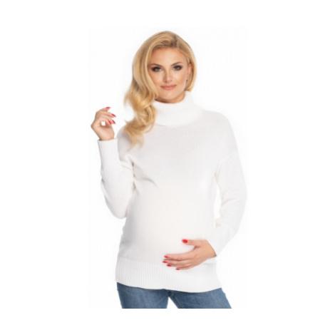 Be MaaMaa Těhotenský svetr, rolák - bílý, vel.