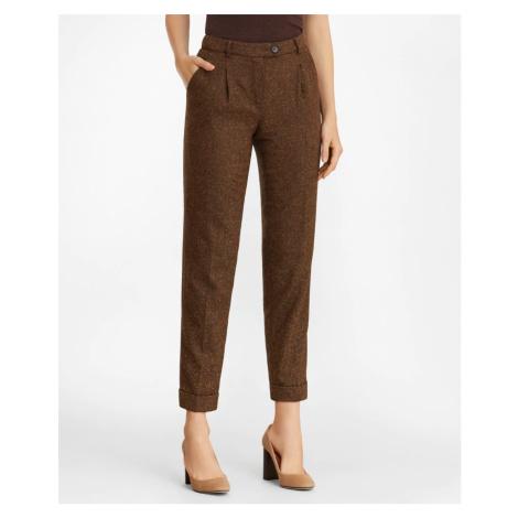 Kalhoty Brooks Brothers Stretch Wool-Silk Tweed Pleated Pants - Hnědá