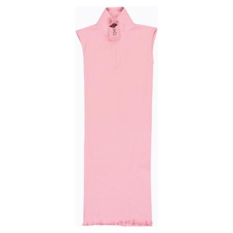 GATE Žebrované šaty s vysokým límcem