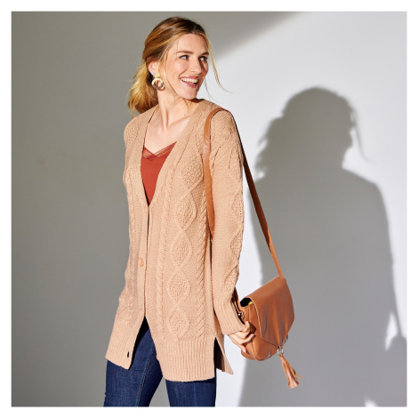 Blancheporte Svetr s pleteným vzorem a dlouhými rukávy béžová