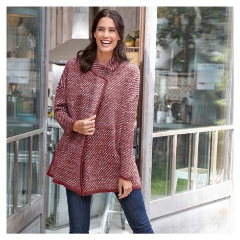 Pruhovaný svetr ve střihu pláště mahagon